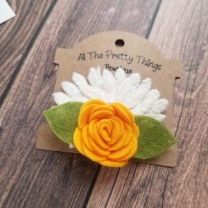 Wool Felt Flower Hair Clip in Yellow and White